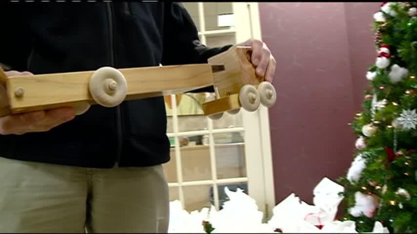Carved wood toys donated to Family and Children's Center in La Crosse