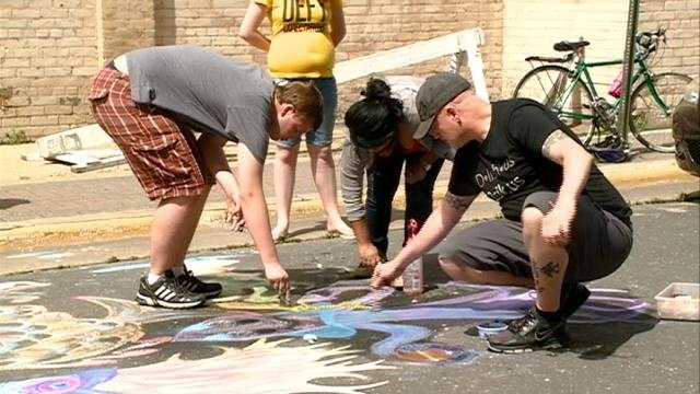 Chalk drawings raise money for Salvation Army
