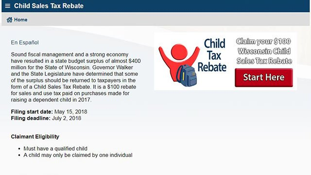 Over 408,000 Wisconsin Child Sales Tax Rebate Claims filed in three weeks
