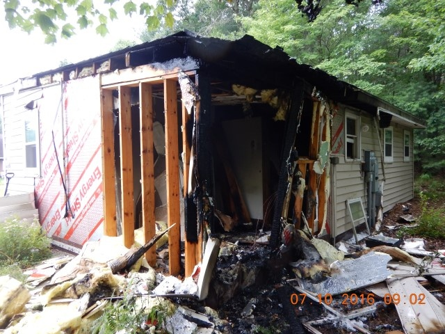 Empty cabin destroyed after fire in Jackson County Sunday