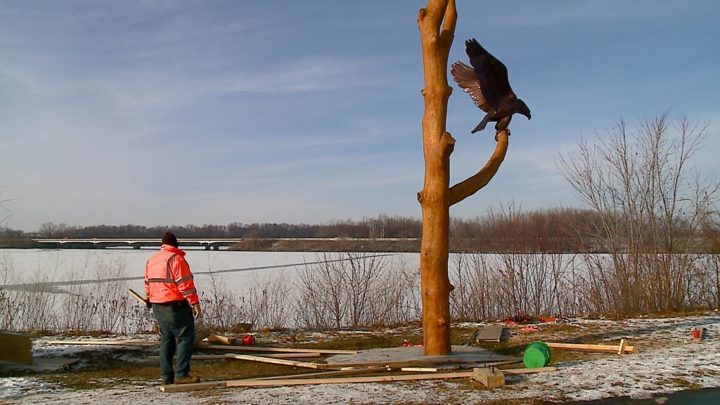 Eagle sculpture added to Eagle Watch area in La Crosse