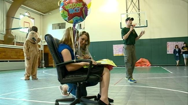 Teachers welcome back sixth-grader whose life they helped save