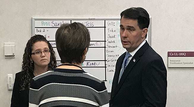 Walker pushes health care plan ahead of state Senate vote
