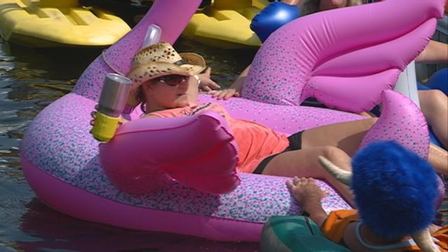Friends throw 'floatie' parade for woman with organ failure