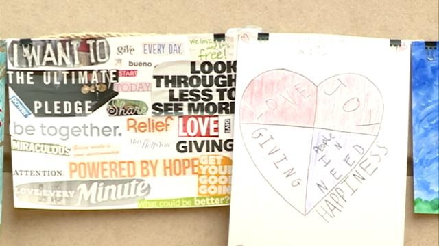 Students draw what giving means to them