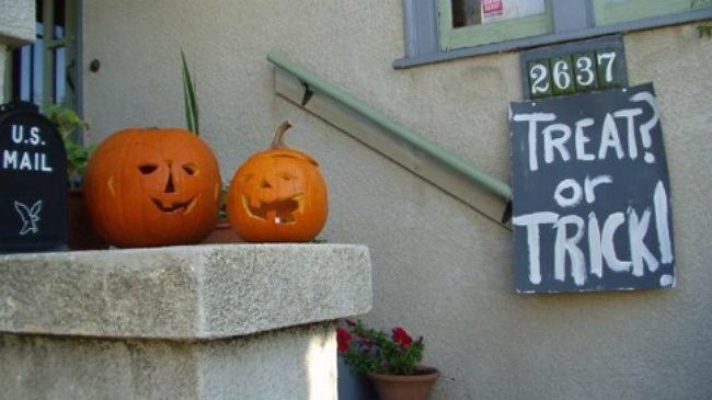 Students trick-or-treating for a good cause