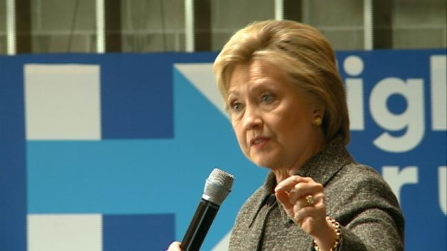 Dem. presidential candidate Hillary Clinton campaigns at Western Technical College