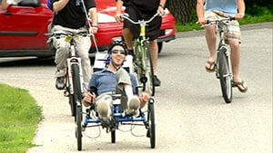 Local man with cerebral palsy completes cross-state bike trek