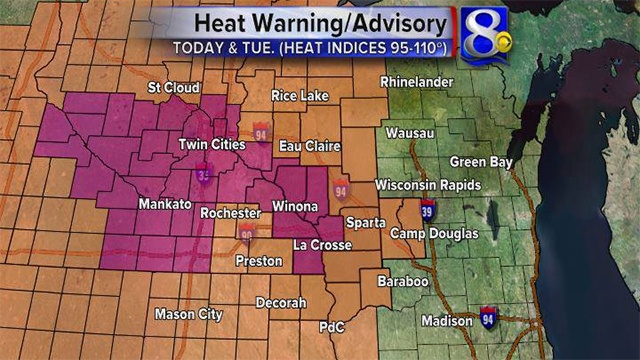 Excessive heat warning issued for Monday, Tuesday