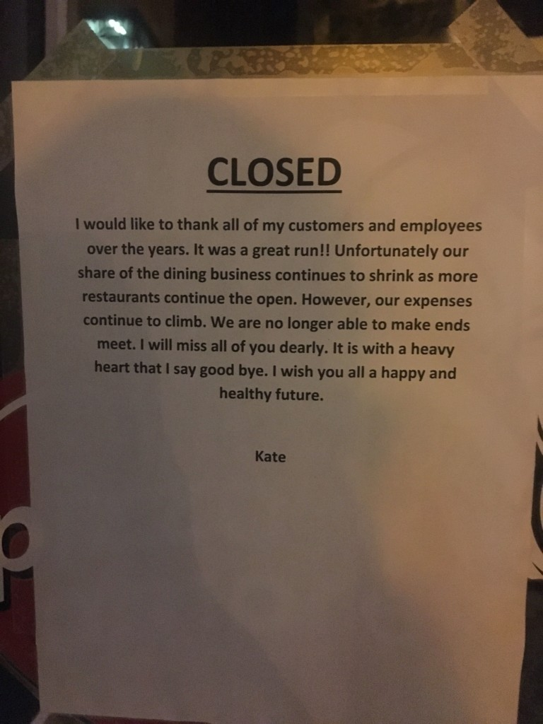 Shady Kate's and Kate's Pizza Amore restaurants close