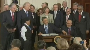 Health care law anniversary marked with heated debate