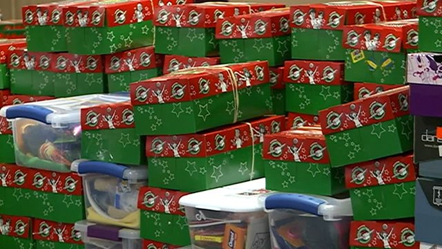 Items in giftwrapped shoeboxes to help kids in need