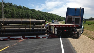 Semi bottomed out, blocked traffic on HWY 93/53