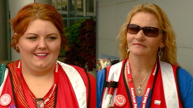 Two local Red Cross volunteers helping with Colorado flooding