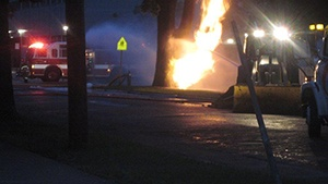 Lightning may have caused tree to catch fire; fueled by broken gas line