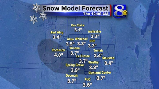 1-4 inches of snow expected for Christmas in La Crosse area