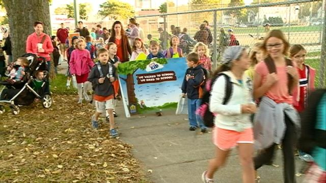 Local kids take part in National Walk to School Day
