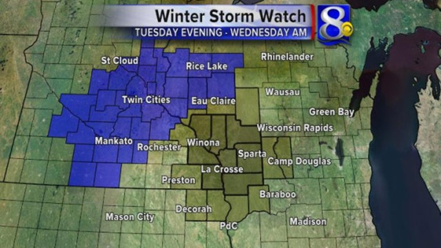 Winter Storm Watch in effect Tuesday evening to Wednesday
