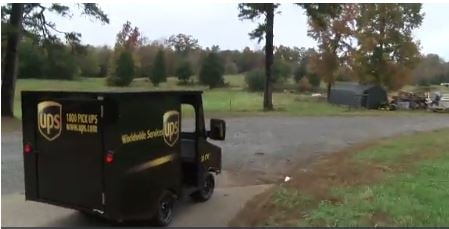 5-year-old fan drives own tiny UPS truck