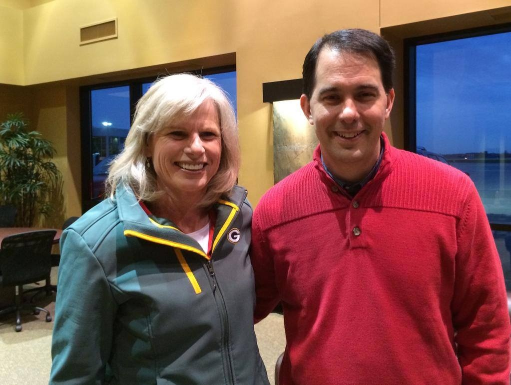 Walker, Burke take campaign trail photo together
