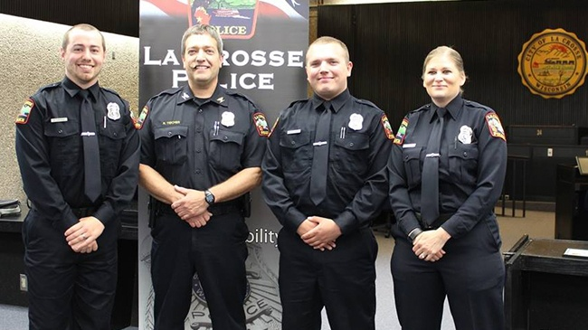Three new officers added to La Crosse Police force, another honored for 25 years