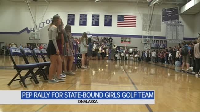 Onalaska girls golf team gets pep rally before heading to State