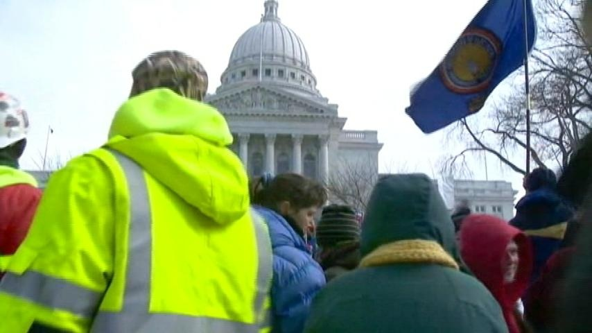 Unions sue over Wisconsin's new right-to-work law
