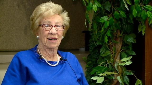 Holocaust survivor Eva Schloss speaks to students in La Crosse