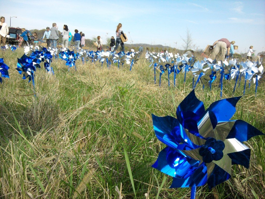 Organization plants blue pinwheels for child abuse awareness