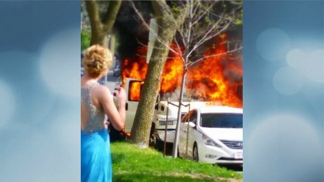 Limo carrying students headed to prom goes up in flames