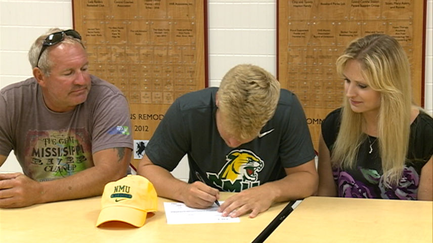 Noah Parcher signs with Northern Michigan