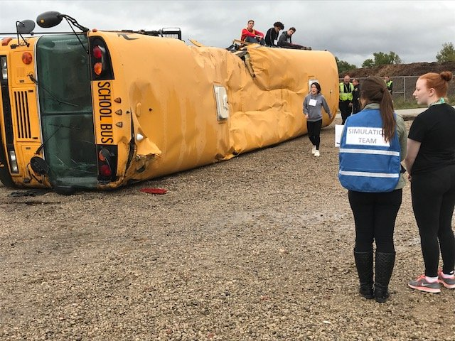 Multiple agencies respond to school bus crash during training exercise