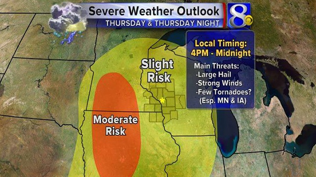 Severe thunderstorms possible