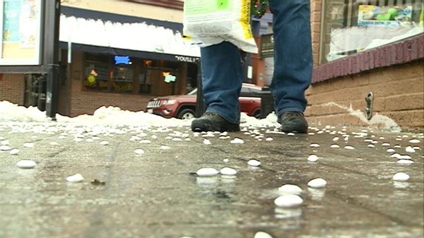 Icy conditions make area sidewalks slippery