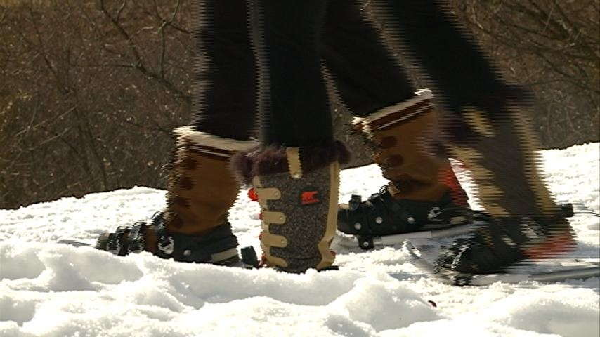 Families enjoyed good weather with snowshoeing