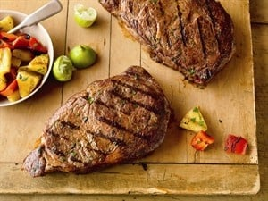 Smoky T-Bones With Chunky BBQ Sauce and Caribbean Ribeye Steaks with Grilled Pineapple Salad