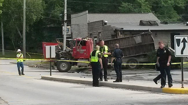 Truck crashes into Bluffside Tavern