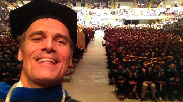 UW-L chancellor takes selfie at commencement