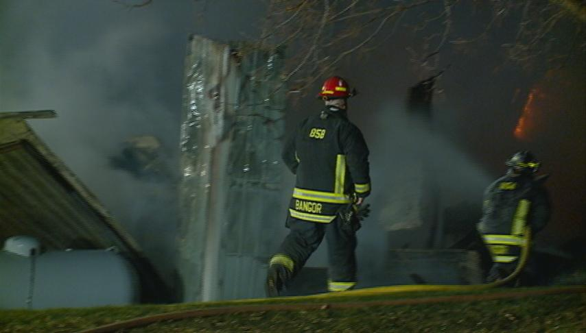 Fire engulfs large shed in Bangor