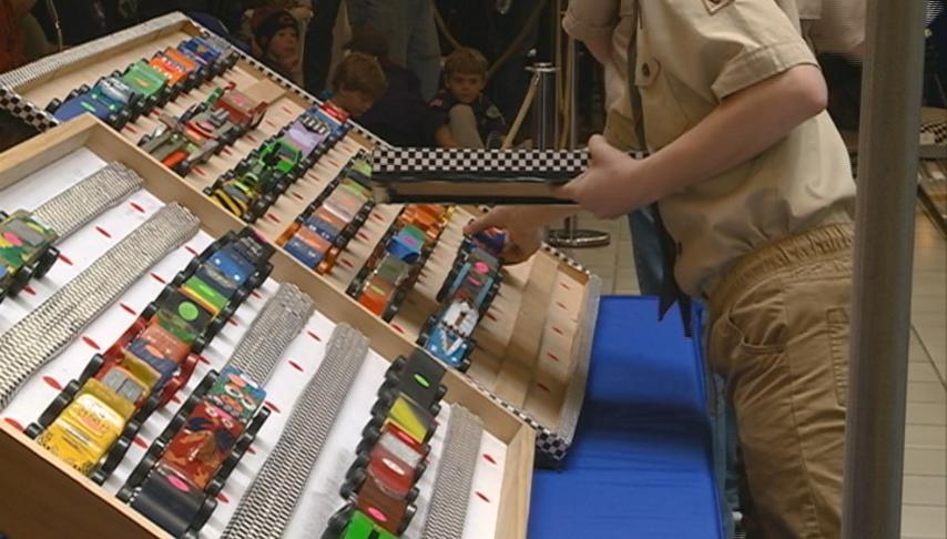 7 Rivers district Pinewood derby held at Valley View Mall