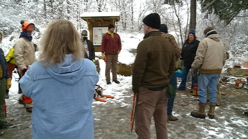 Aquinas High School students help clear out Mathy Quarry on Saturday
