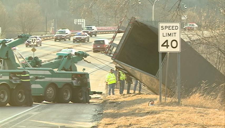 Semi-truck crashed into water following an accident on highway 14