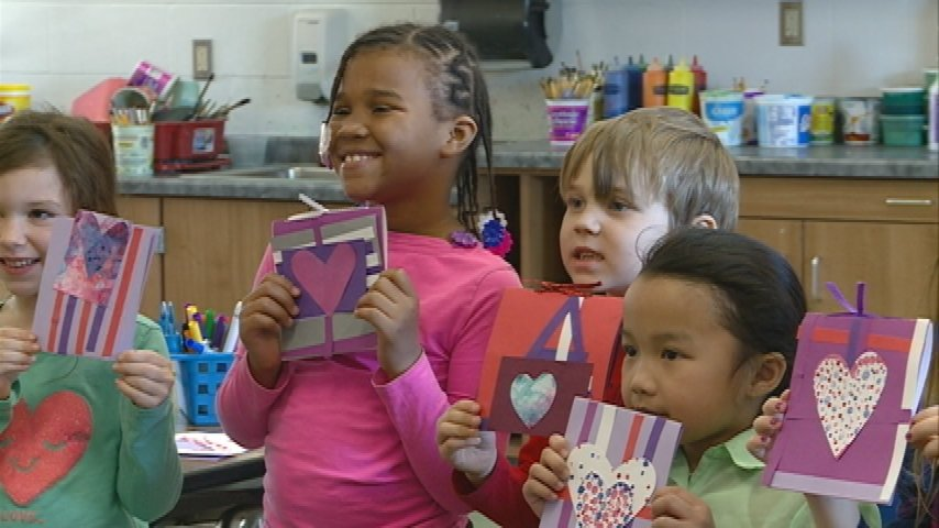 Kids making Valentines for hospital patients, nursing home residents