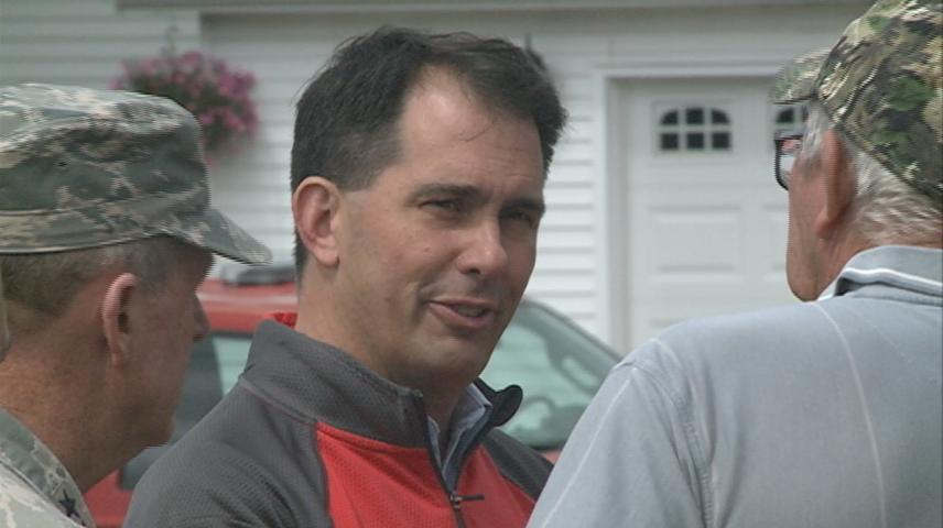 Wisconsin Governor Scott Walker tours flood damage in Coon Valley