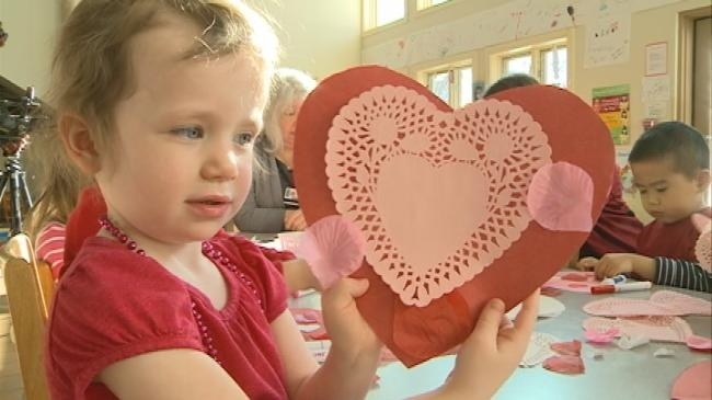 Day care makes valentines for hospital patients and nursing homes
