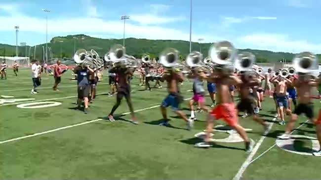 Blue Stars Drum and Bugle Corps rehearse at Veterans Memorial Field