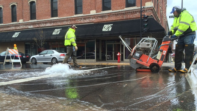 Water main break in downtown La Crosse