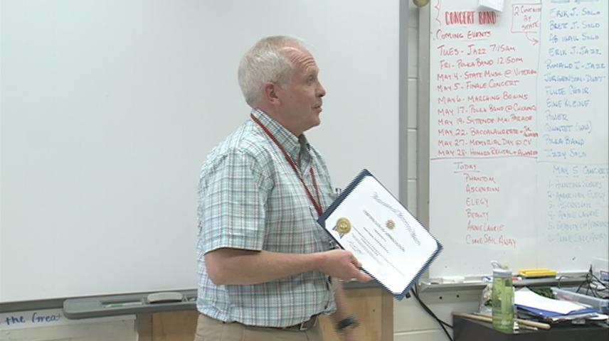 Westby band director honored for VFW