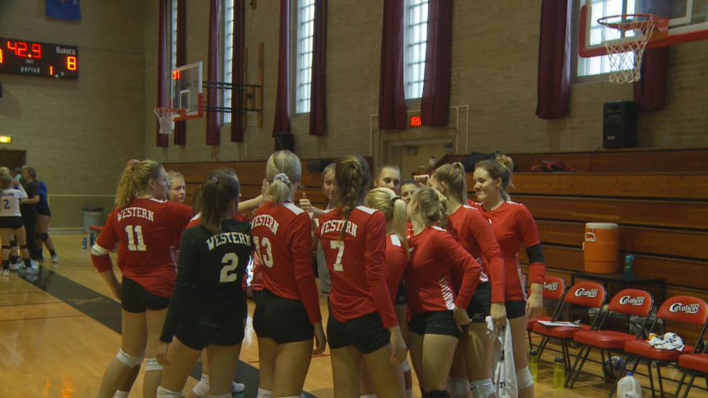 Western Tech volleyball earns home win