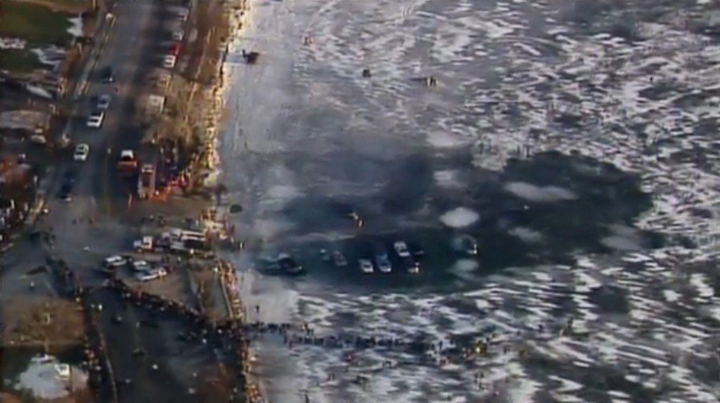 Ten cars a total loss after falling through the ice in Lake Geneva